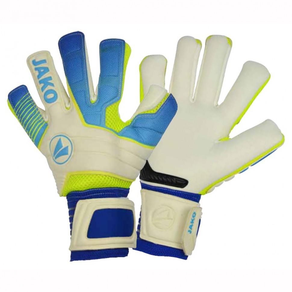Jako Goalkeeper-Handshoes Champ Giga WCNC white/blue/neonyellow