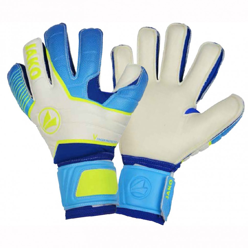 Jako Torwart-Handschuhe Champ Basic RC Protection weiß/blau/neongelb/schwarz