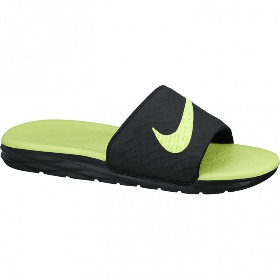 Nike Badeschuhe Benassi Solarsoft Slide 2 schwarz/neongelb