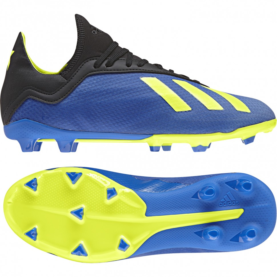 Adidas Fussballschuhe X 18.3 FG J Kinder blau/schwarz/gelb
