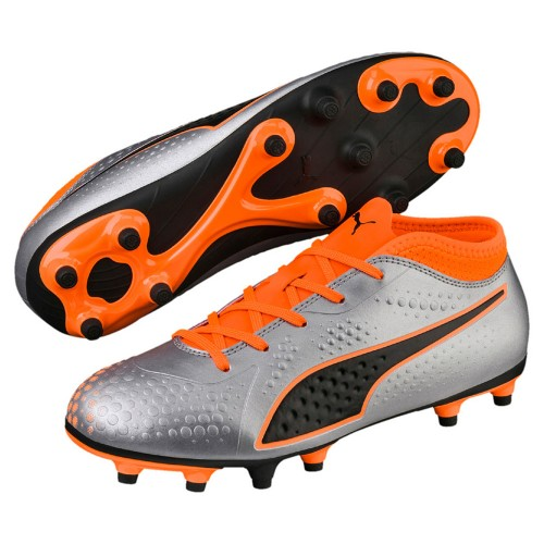 Puma soccer shoes One 4 Syn FG kids silver/orange