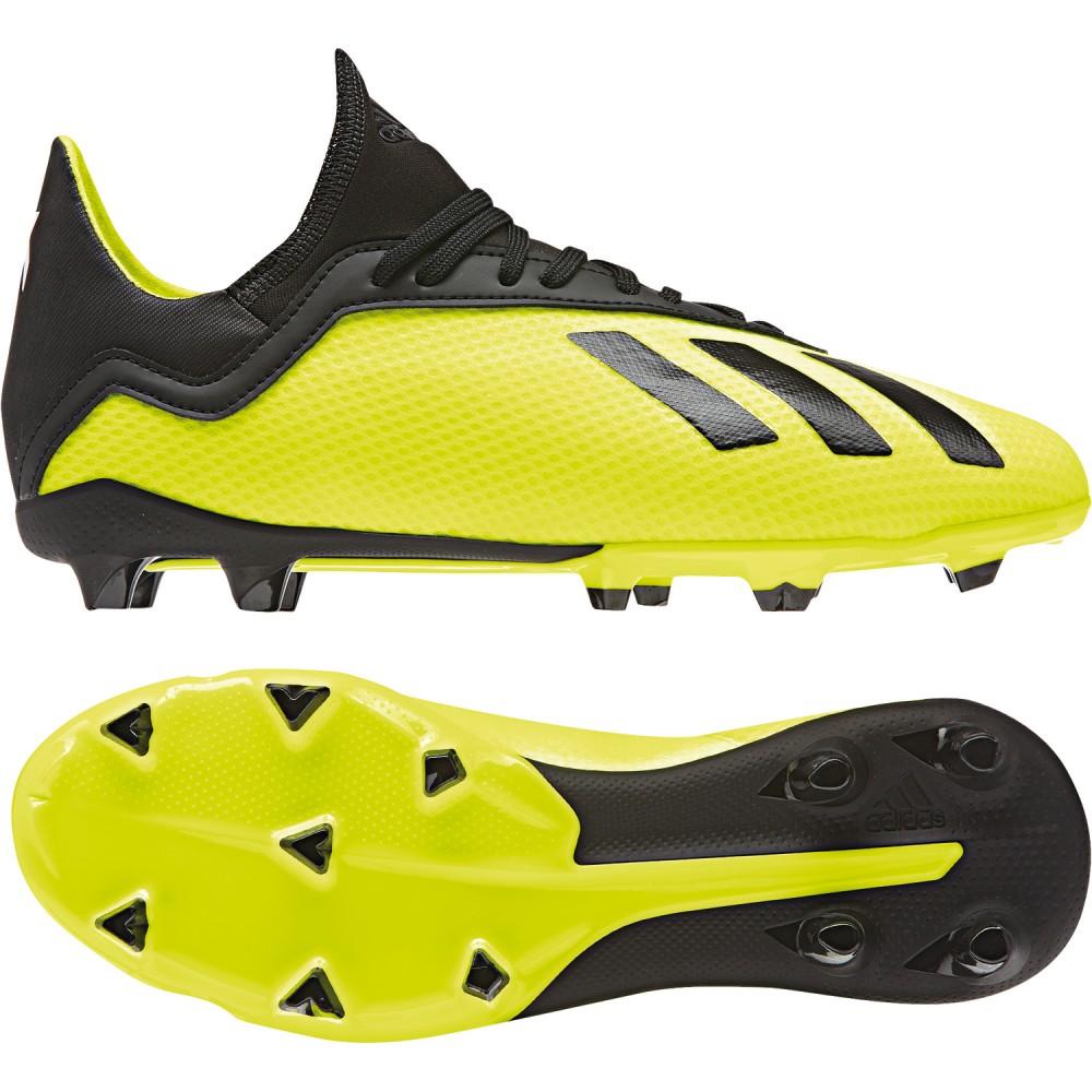 buy online d5e61 19a30 Adidas soccer shoes X 18.3 FG J Kids yellow black. Loading zoom
