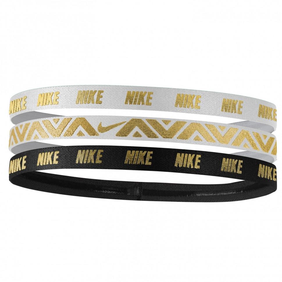 Nike Elastic Hairbands 3 Pack white/black/gold