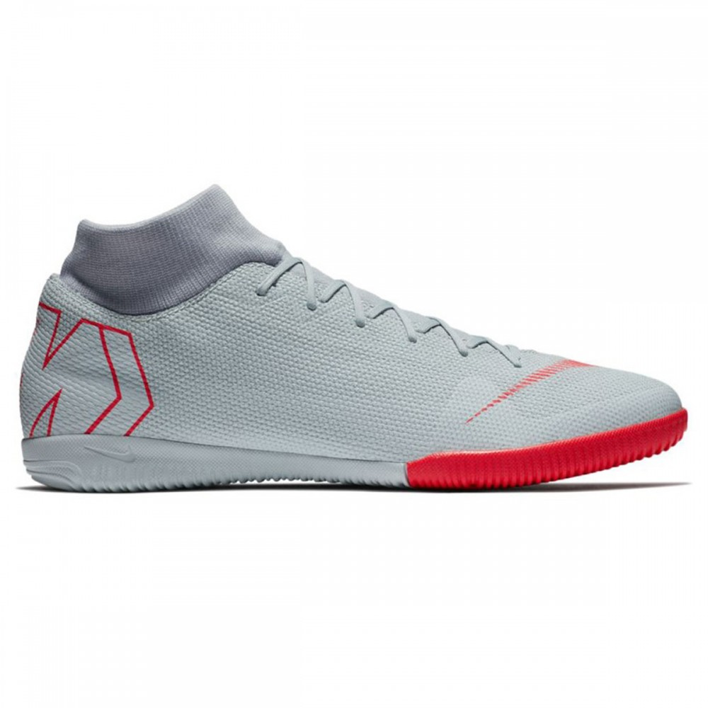 bda1b723f Nike indoor soccer shoes MercurialX Superfly VI Academy IC gray red ...